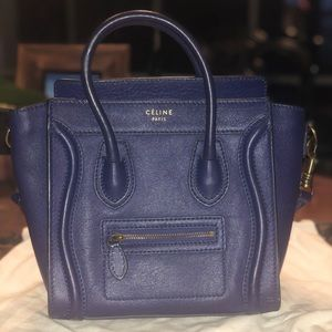 Authentic Celine Electric Blue Leather NANO